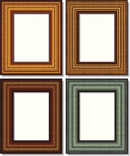 vier rechteckige bilderrahmen, isoliert auf weiss - palettenbilderrahmen stock-grafiken, -clipart, -cartoons und -symbole