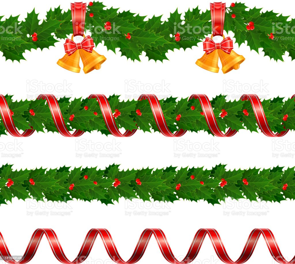 four red and green christmas garlands with decorations royalty free four red and green christmas - Christmas Garlands