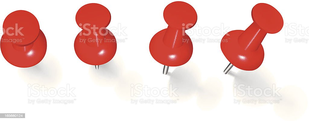 Four red thumbtacks stuck on white background vector art illustration