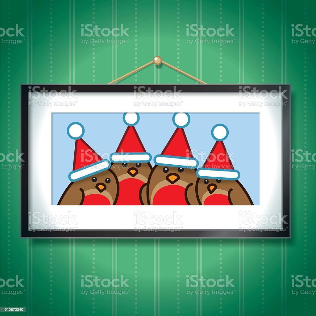 Four Robins wearing Santa Hats in Picture Frame vector art illustration