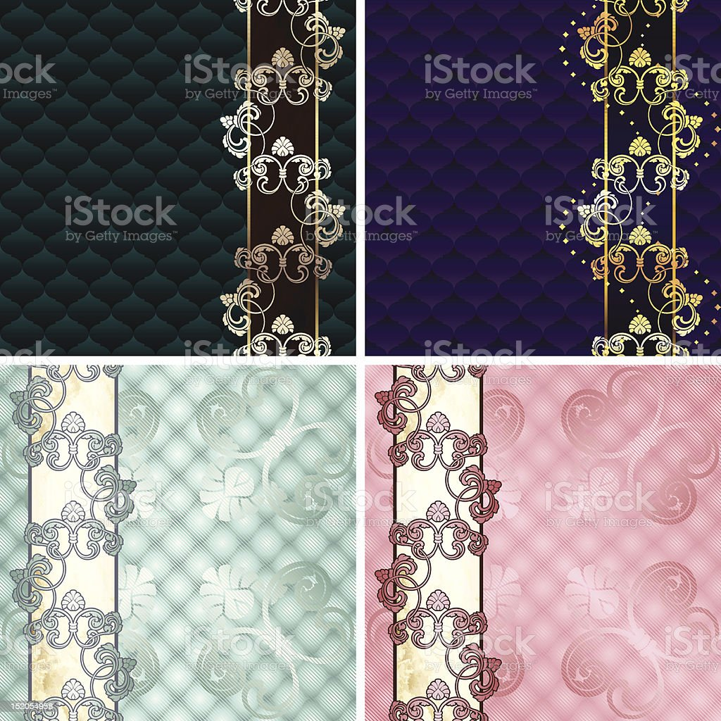 Four Rococo backgrounds with ornamental margins royalty-free stock vector art
