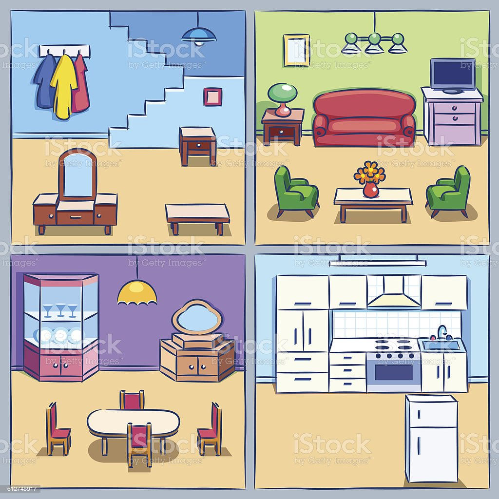 Four Rooms In A Cut vector art illustration