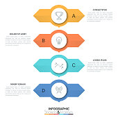 Four round elements placed one above other with two arrows pointing in opposite directions and text boxes, 4 double-sided pointers concept. Creative infographic design layout. Vector illustration.