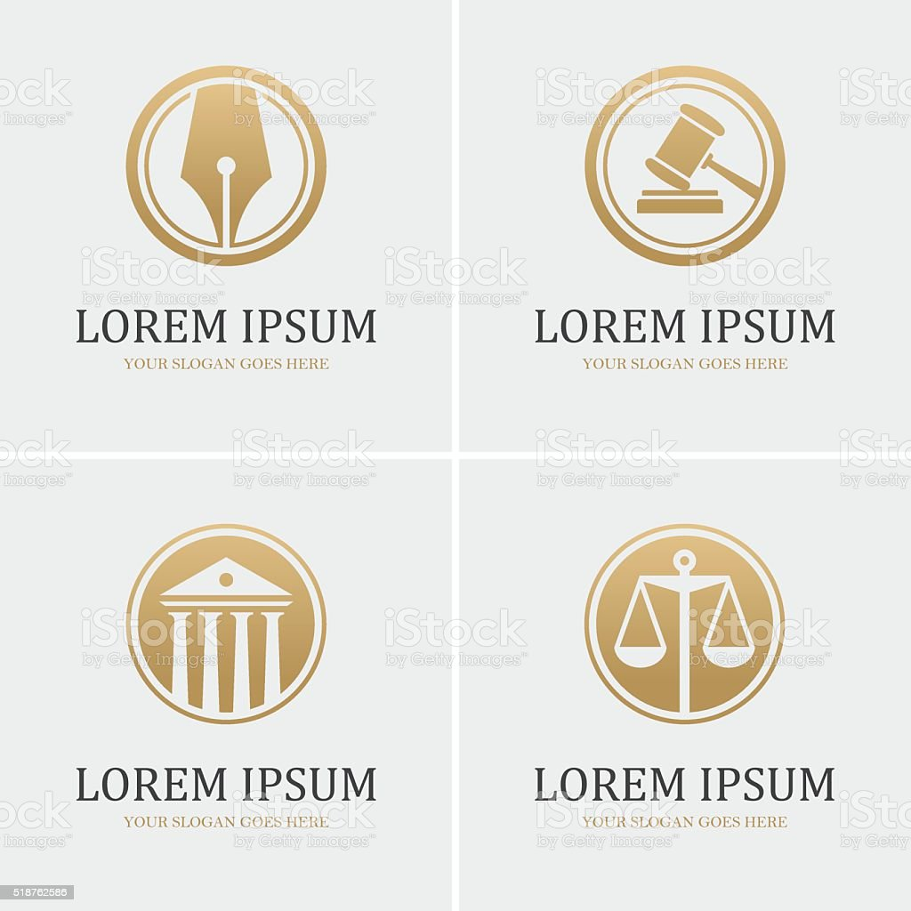 Four round law icons vector art illustration