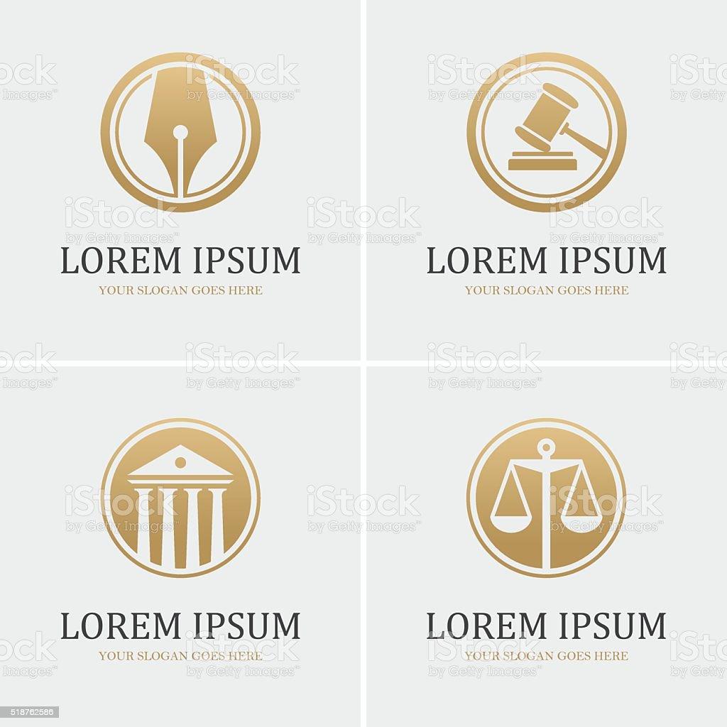 Cuatro redondo ley iconos - ilustración de arte vectorial