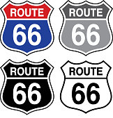 Vector illustration of a set of four route 66 signs.