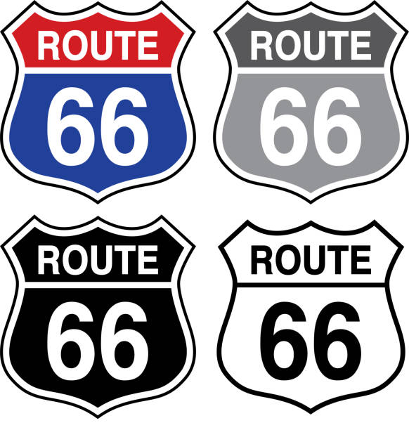 Four Route 66 Signs vector art illustration