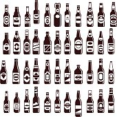 Beer bottles vector collection. Bar seamless background. 44 different vector forms & labels.