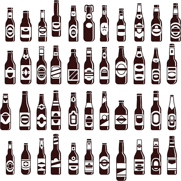 Four rows of beer bottles of various sizes vector art illustration