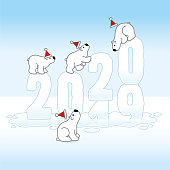 Four Cute Polar Bears wearing Santa Claus Hats Balancing on Changing Frozen New Year 2019-2020 with Reflections melting in an Ice Cold Puddle