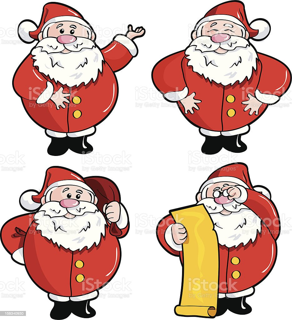 Four Santa's royalty-free stock vector art