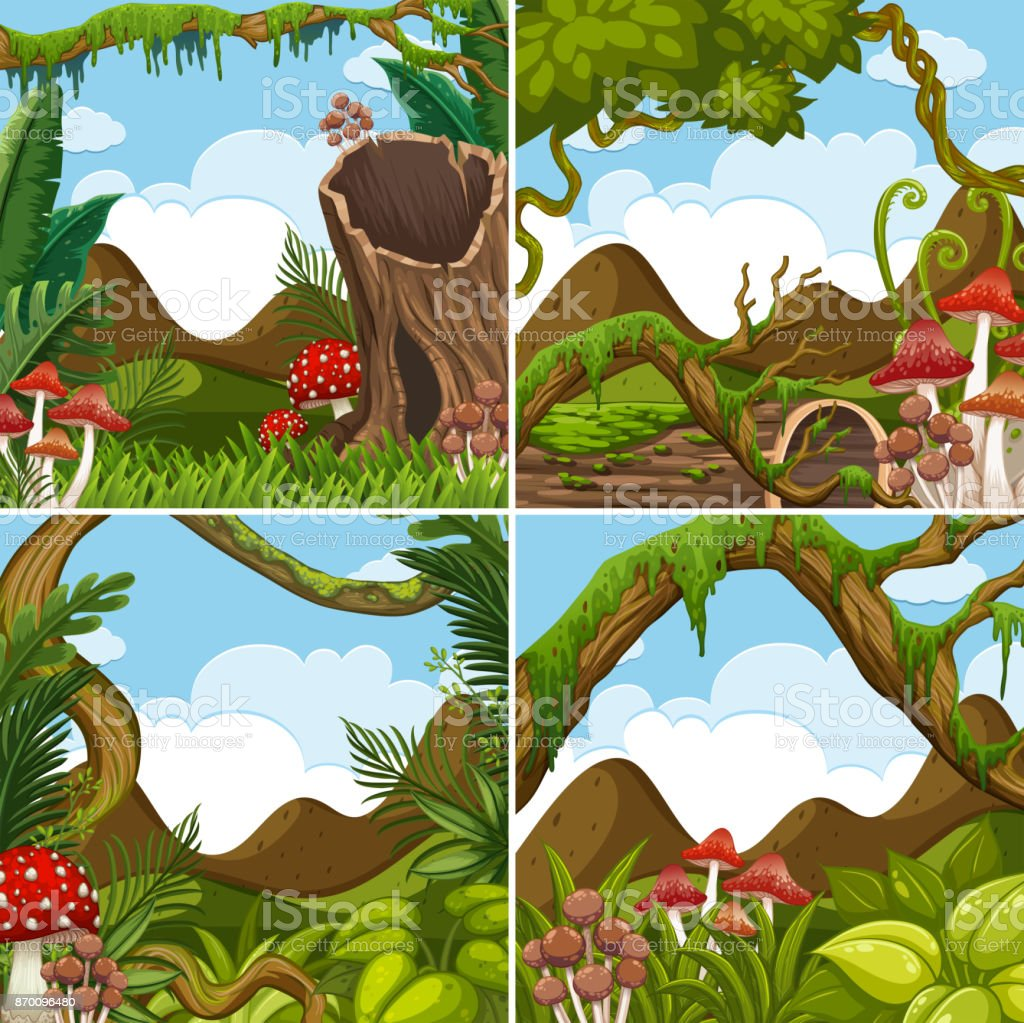 Four scenes with plants in forest vector art illustration
