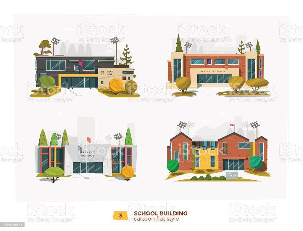 Four school building vector art illustration