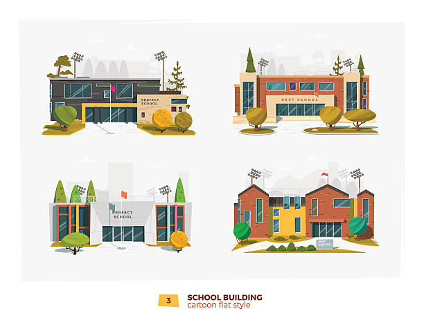 ilustrações, clipart, desenhos animados e ícones de four school building - exteriores de escola