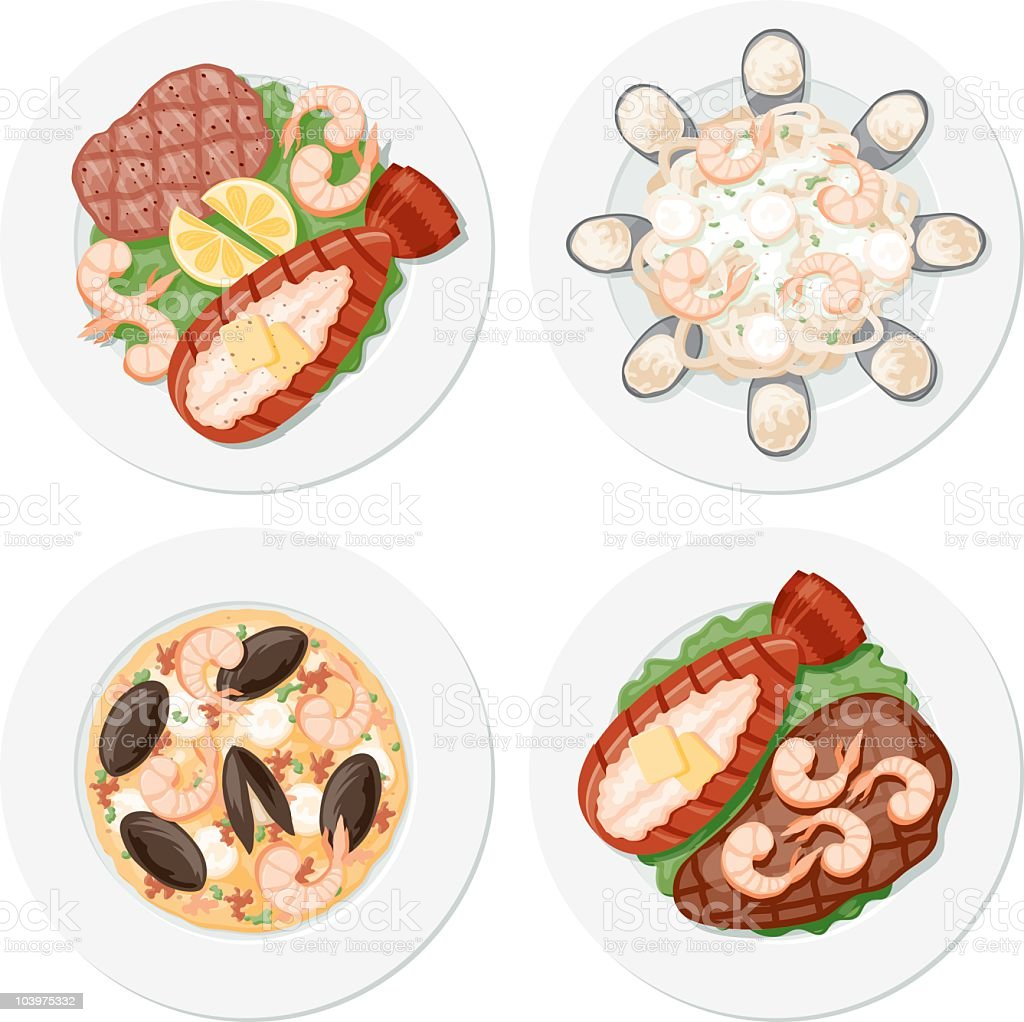 Four Seafood Plates royalty-free four seafood plates stock vector art & more images of baked