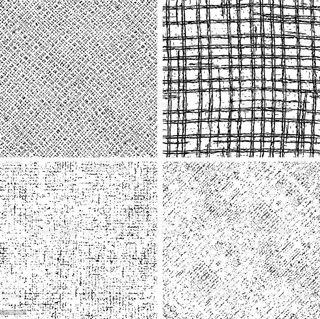 Vier nahtlose Schwarz-Weiß-Muster – Vektorgrafik
