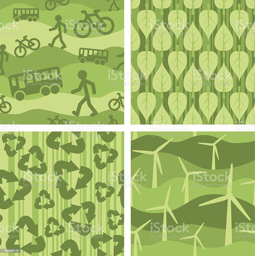 Four seamless enviro-patterns royalty-free four seamless enviropatterns stock vector art & more images of alternative energy