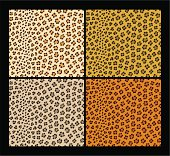 Four seamless leopard skin patterns. Clear neat joints. Easy to work with (just drop it into your Illustrator pattern box). Not too heavy, does not obstruct the work of the program.