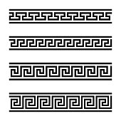 Four seamless meander designs. Meandros, a decorative border, constructed from continuous lines, shaped into a repeated motif. Greek fret or Greek key. Black and white illustration over white. Vector.