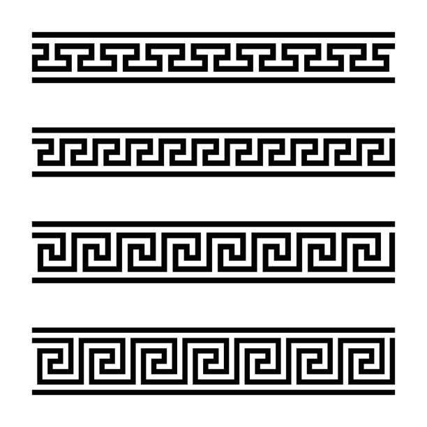 Vier Designs nahtlos Mäander – Vektorgrafik