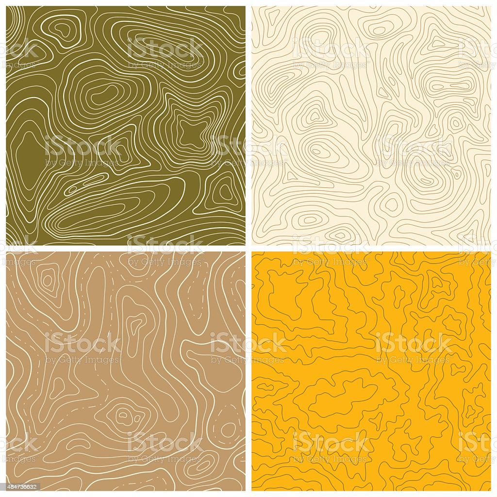Four Seamless Vector Topographic Map Patterns vector art illustration