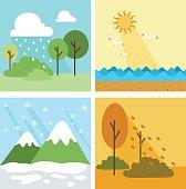 Four season background,vector illustration