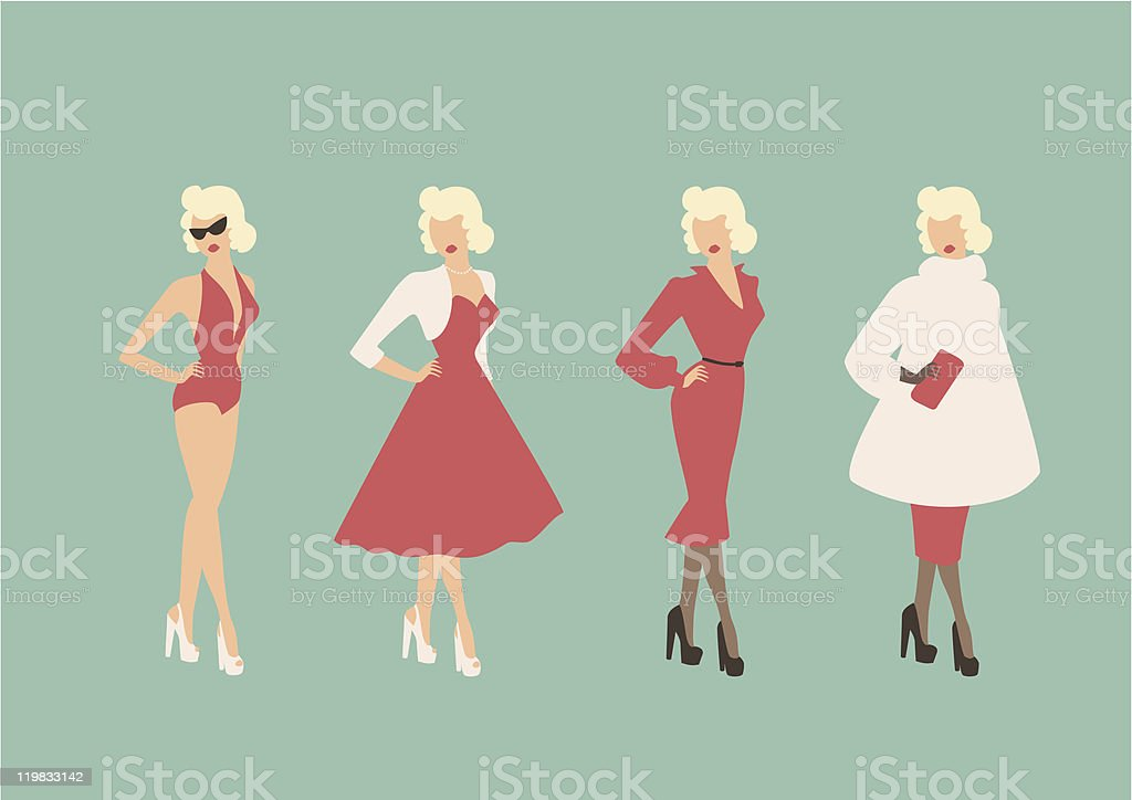 Four Season Glamour vector art illustration