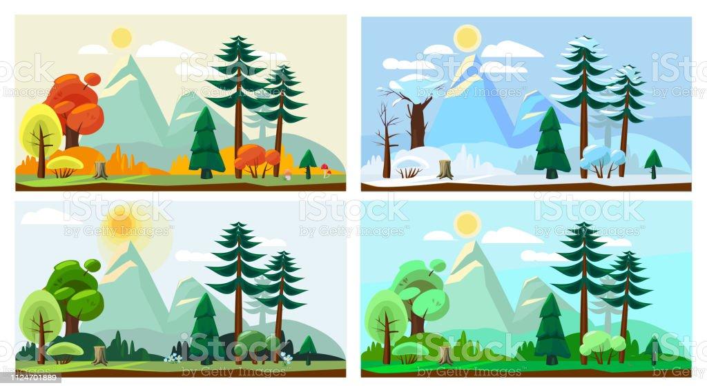 Four season landscape. Spring autumn summer winter weather nature...