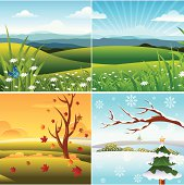 Self illustrated Four Season Landscape.