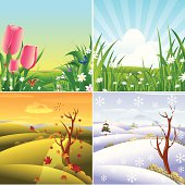 Self illustrated Four Season Landscape.Please see some similar pictures from my portfolio:
