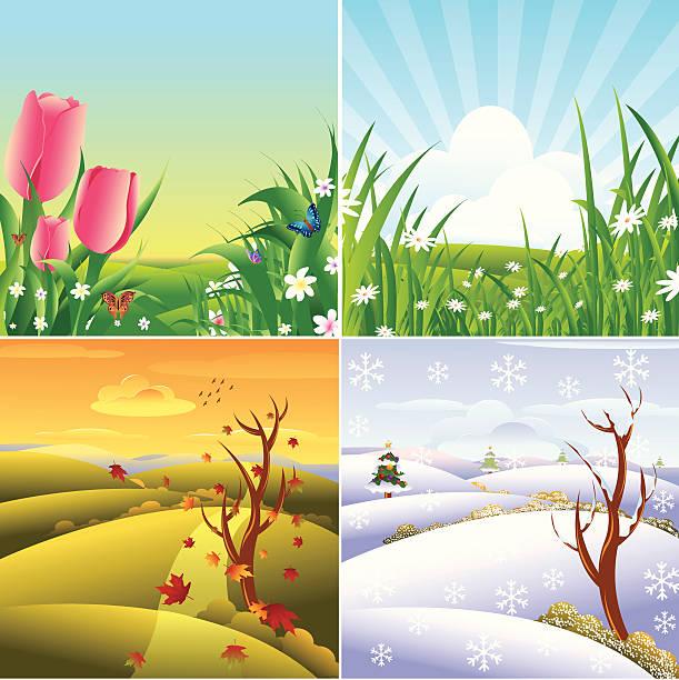 vier jahreszeiten bilder stockvektoren und grafiken  istock