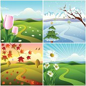 Beautiful Four Season Landscape/Banner.Please see some similar pictures from my portfolio: