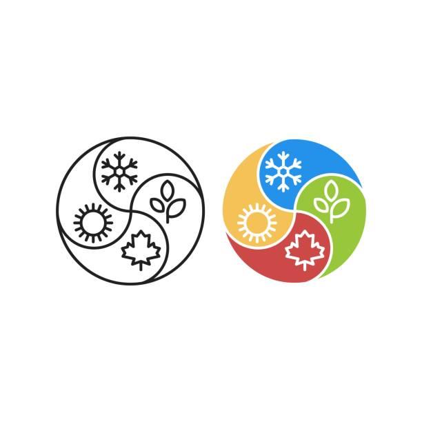 dört mevsim, kış, yaz, sonbahar, ilkbahar. vektör simgesi şablonu - four seasons stock illustrations