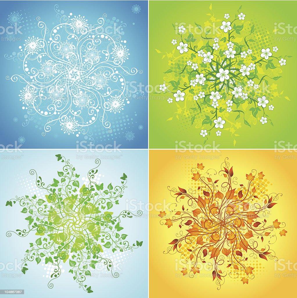 Four seasonal snowflakes royalty-free stock vector art