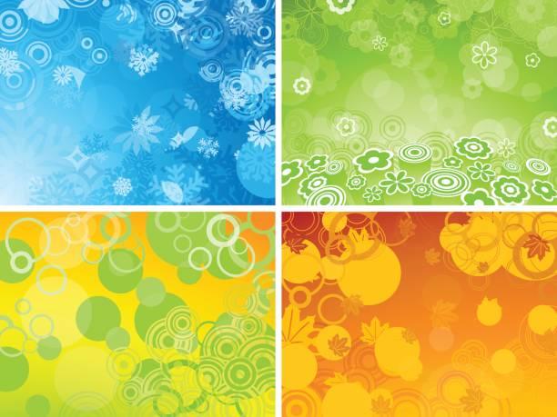 ilustraciones, imágenes clip art, dibujos animados e iconos de stock de four seasons fondos con espacio de copia: - calendario de naturaleza