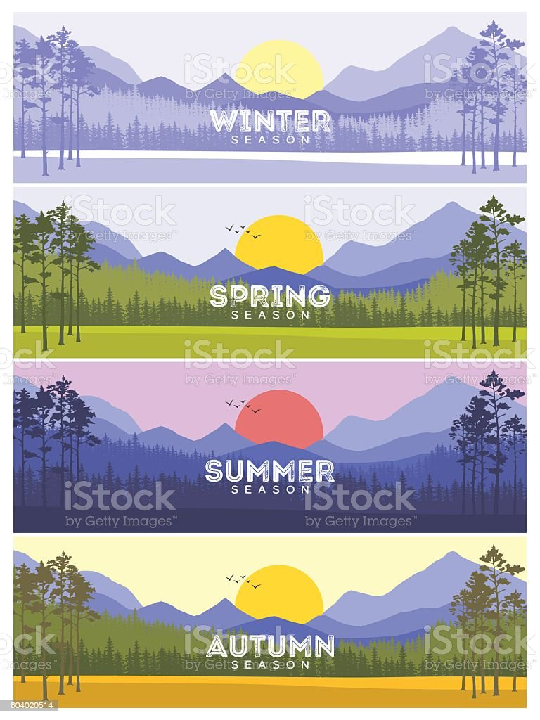Four Seasons Banners with Abstract Trees - Vector Illustration vector art illustration