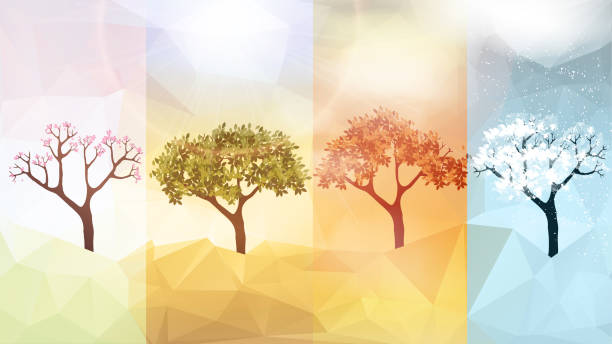 four seasons banners with abstract trees - vector illustration - cztery pory roku stock illustrations