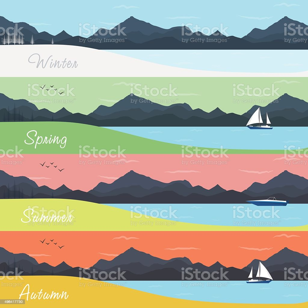 Four Seasons Banners with Forest and Mountains vector art illustration