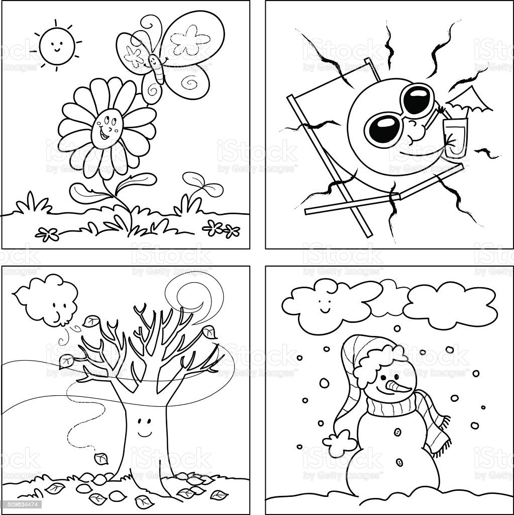 Four seasons coloring vector stock vector art more for Seasonal coloring pages