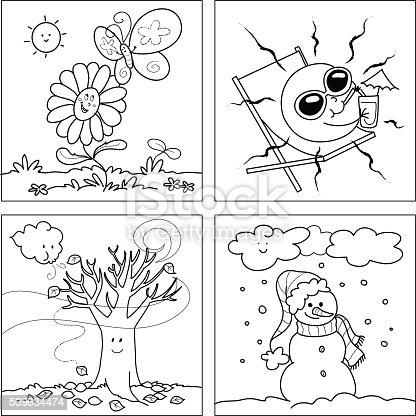 coloring pages with four seasons - photo#7