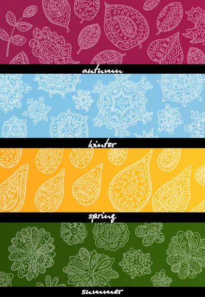 four seasons horizontal banners. - four seasons stock illustrations