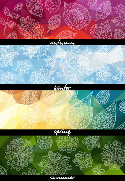 four seasons horizontal banners. - cztery pory roku stock illustrations