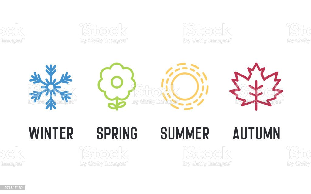 Four seasons icon set. 4 Vector graphic element illustrations representing winter, spring, summer, autumn. Snowflake, flower, sun and maple leaf vector art illustration