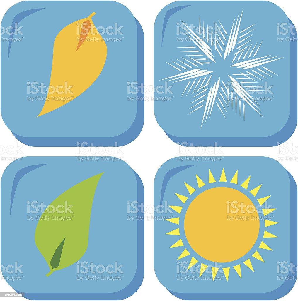 Four Seasons, icon set vector art illustration