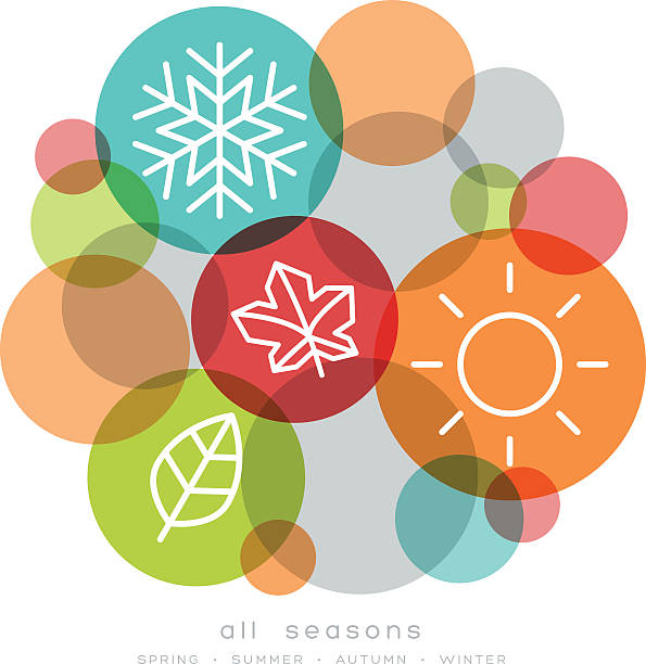 four seasons icon symbol vector - four seasons stock illustrations