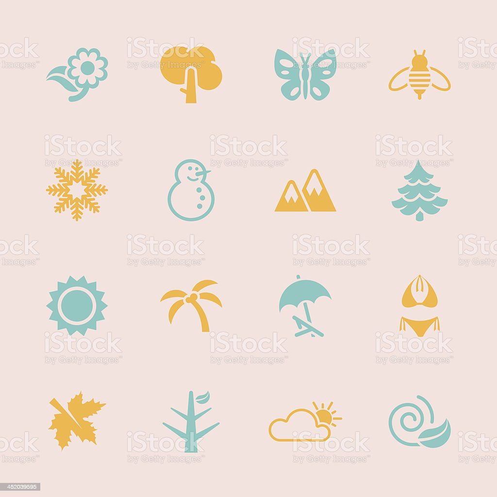 Four Seasons Icons - Color Series | EPS10 royalty-free stock vector art