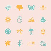 Four Seasons Icons Color Series Vector EPS10 File.