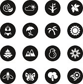 Four Seasons Icons Set 1 Black Circle Series Vector EPS10 File.