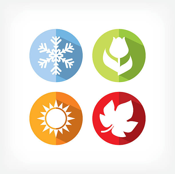 four seasons icons vector illustration - four seasons stock illustrations
