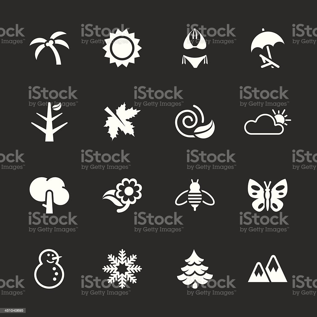 Four Seasons Icons - White Series   EPS10 royalty-free four seasons icons white series eps10 stock vector art & more images of animal